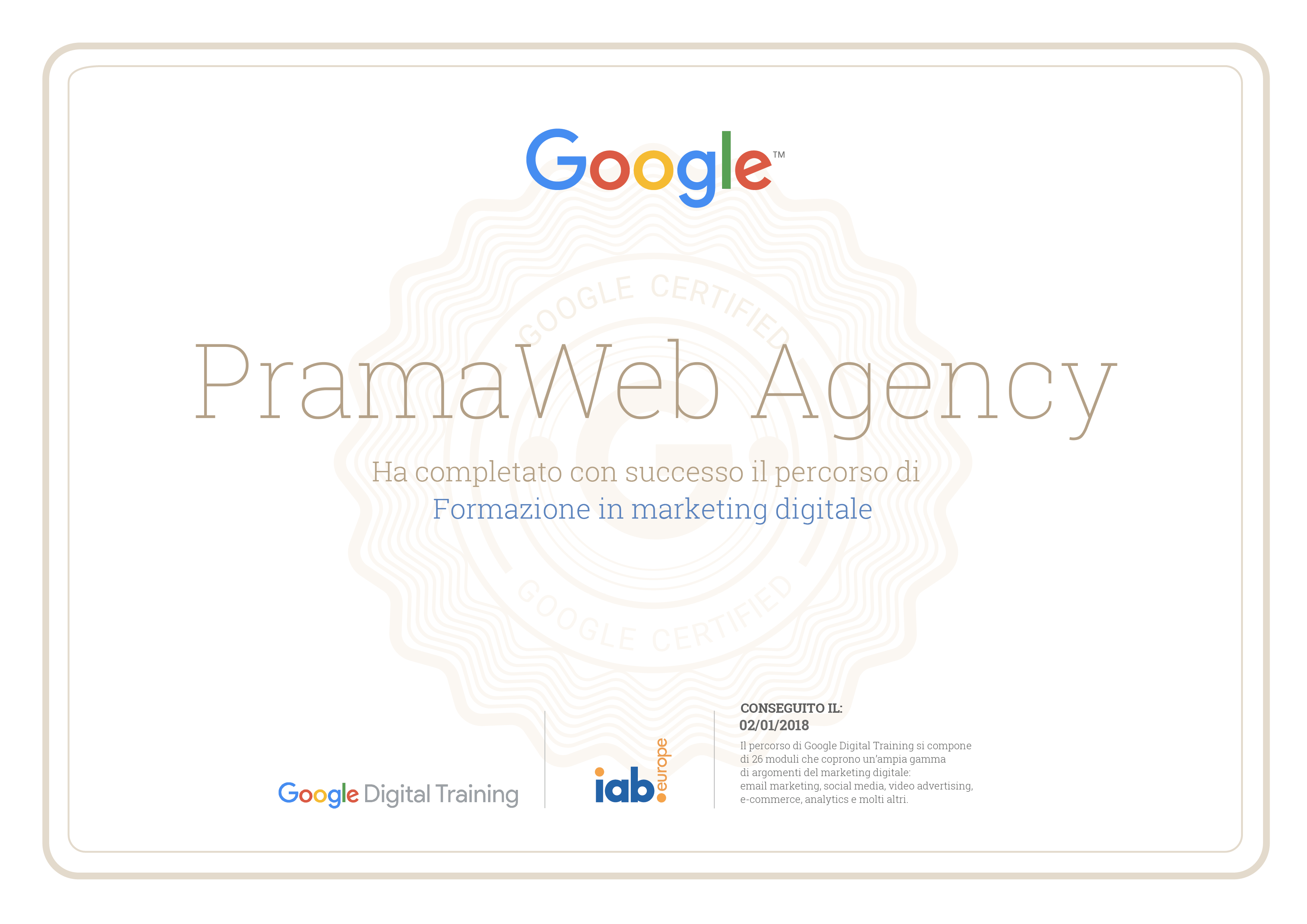 Google Digital Training - Certificato